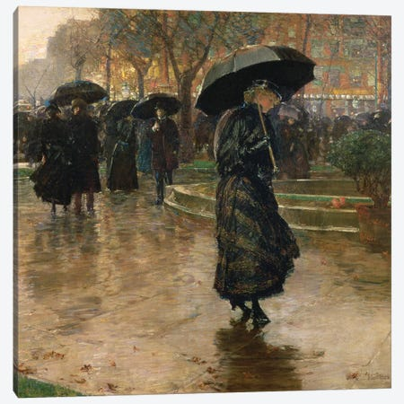 Rain Storm, Union Square, 1890  3-Piece Canvas #BMN1398} by Childe Hassam Canvas Artwork