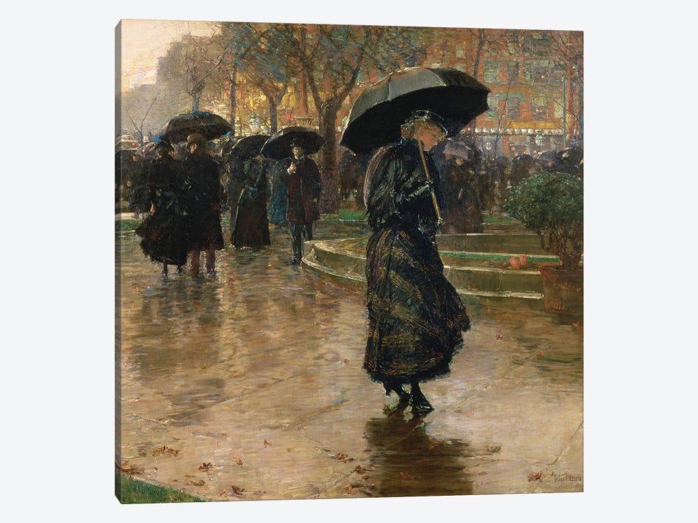 Rain Storm, Union Square, 1890  by Childe Hassam 1-piece Canvas Artwork