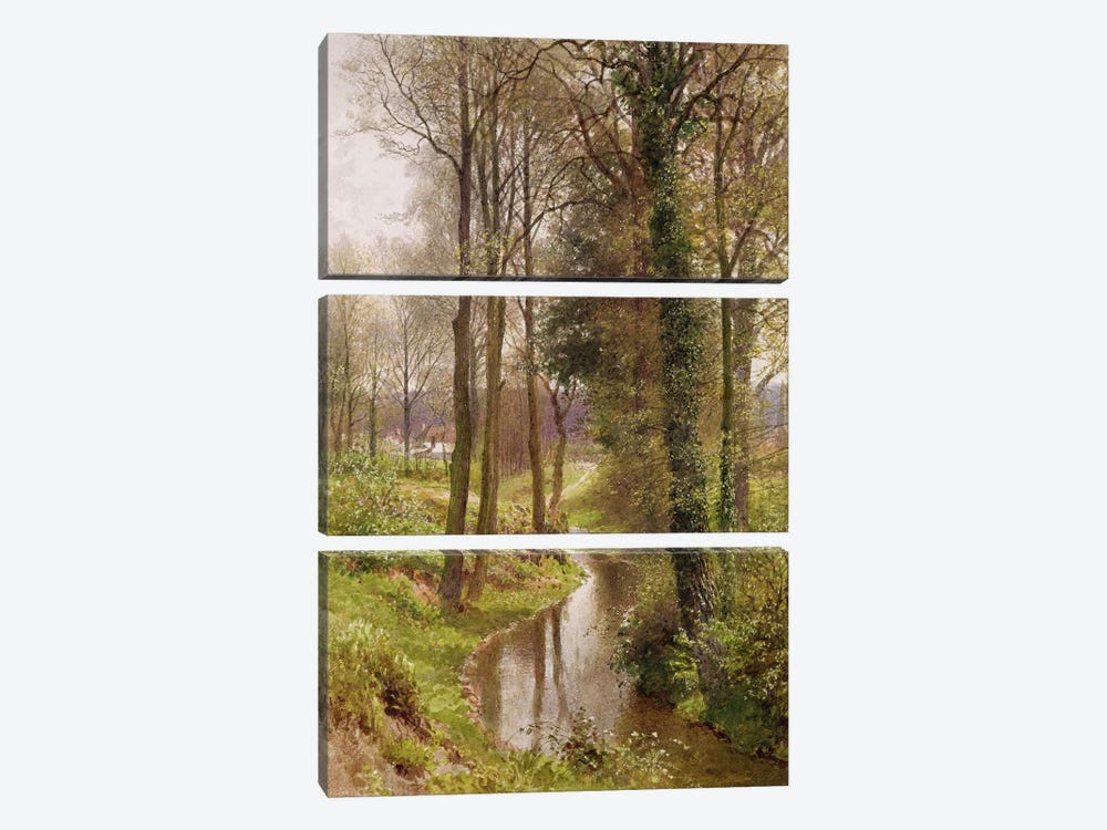 Round My House: The Mill Stream, Ockham, 1880-86  by Henry Sutton Palmer 3-piece Canvas Art Print