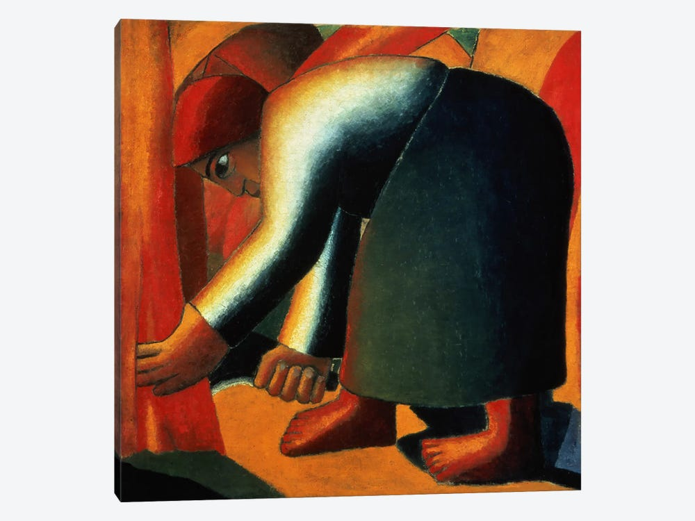 Woman Cutting, c.1900 by Kazimir Malevich 1-piece Canvas Art