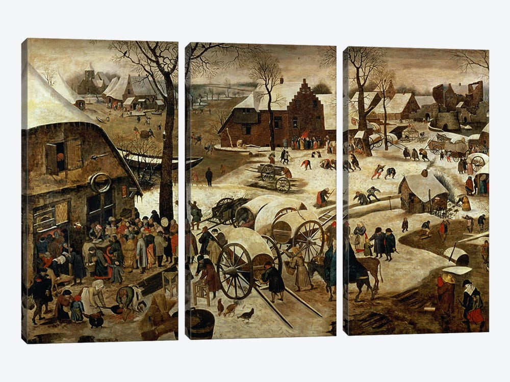 The Payment of the Tithe or The Census at Bethlehem   by Pieter Brueghel the Younger 3-piece Art Print