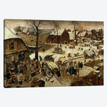 The Payment of the Tithe or The Census at Bethlehem   Canvas Print #BMN1405} by Pieter Brueghel the Younger Canvas Print