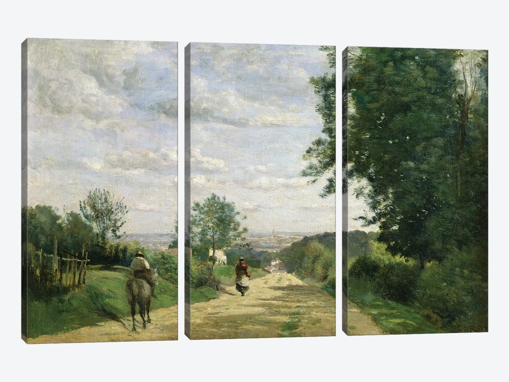 The Road to Sevres, 1858-59   by Jean-Baptiste-Camille Corot 3-piece Art Print