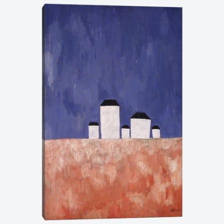 Landscape with Five Houses, c.1932 (oil on canvas) Canvas Print #BMN140} by Kazimir Severinovich Malevich Canvas Art Print