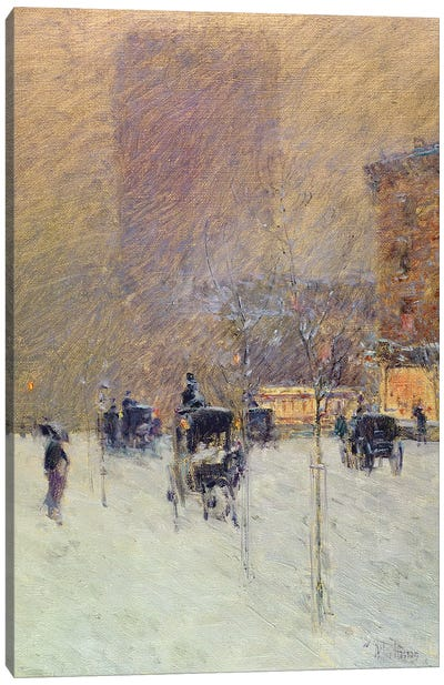 Winter Afternoon in New York, 1900  Canvas Art Print