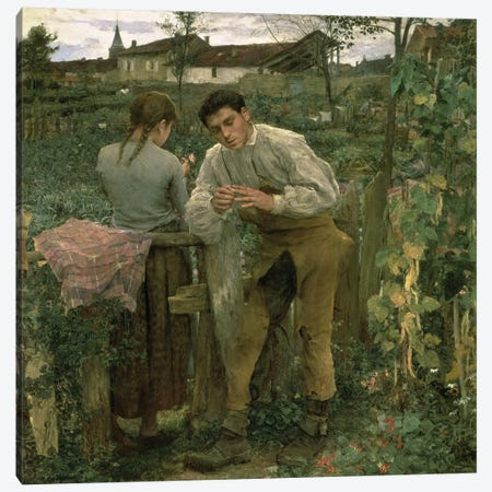 Rural Love, 1882  Canvas Print #BMN1414} by Jules Bastien-Lepage Canvas Artwork