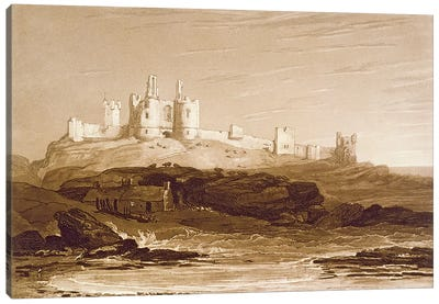 F.14.I Dunstanborough Castle, from the 'Liber Studiorum', engraved by Charles Turner, 1808 by J.M.W Turner Canvas Art