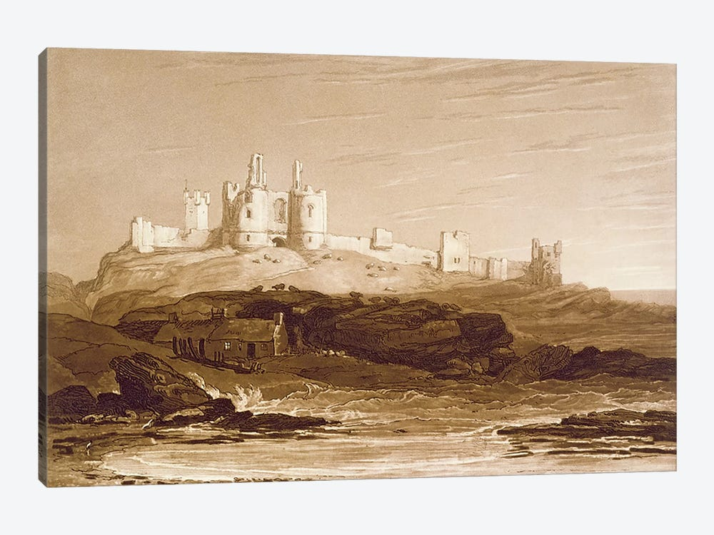 F.14.I Dunstanborough Castle, from the 'Liber Studiorum', engraved by Charles Turner, 1808  by J.M.W. Turner 1-piece Canvas Art Print