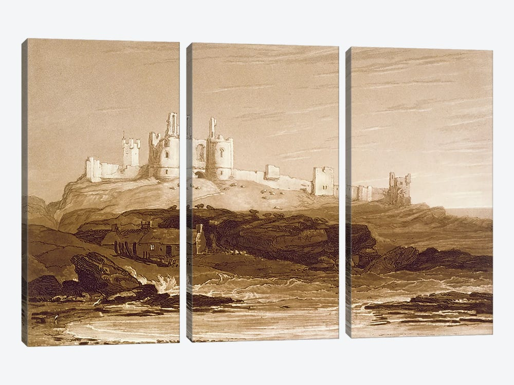 F.14.I Dunstanborough Castle, from the 'Liber Studiorum', engraved by Charles Turner, 1808  by J.M.W. Turner 3-piece Canvas Print
