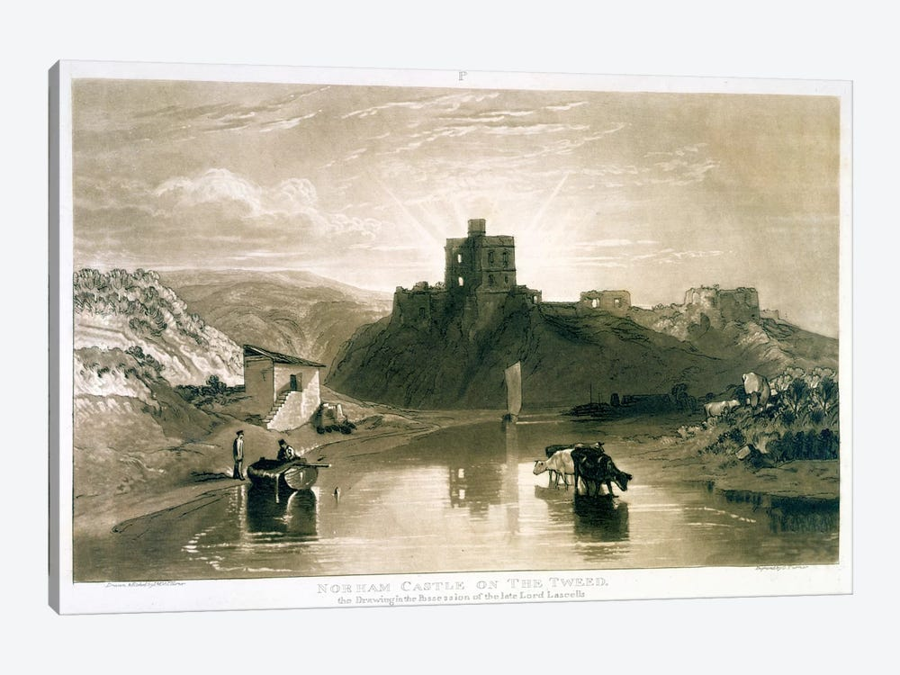 F.57.I Norham Castle on the River Tweed, from the 'Liber Studiorum', engraved by Charles Turner, 1816 by J.M.W. Turner 1-piece Canvas Wall Art