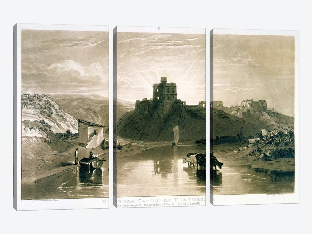 F.57.I Norham Castle on the River Tweed, from the 'Liber Studiorum', engraved by Charles Turner, 1816  by J.M.W. Turner 3-piece Canvas Artwork