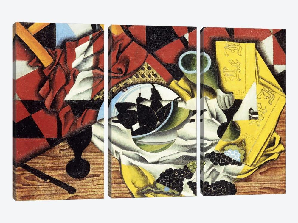 Pears and Grapes on a Table; Poires et Raisins sur une Table, 1913 (oil on canvas) by Juan Gris 3-piece Canvas Art Print