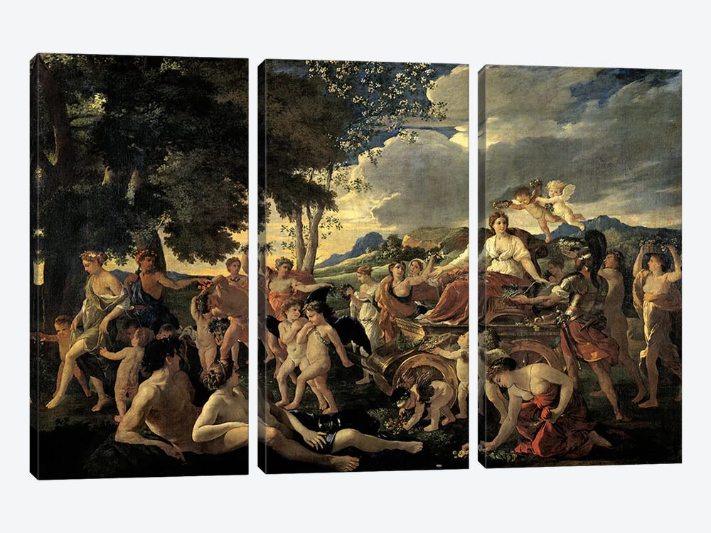 The Triumph of Flora, c.1627-28  by Nicolas Poussin 3-piece Canvas Art