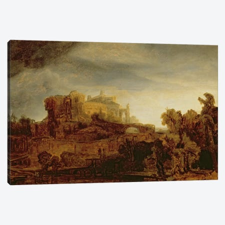 Landscape with a Chateau  Canvas Print #BMN1423} by Rembrandt van Rijn Canvas Artwork