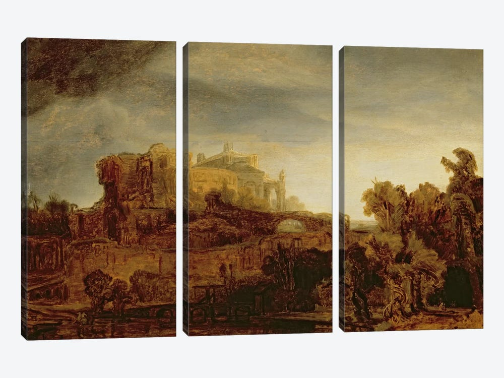 Landscape with a Chateau by Rembrandt van Rijn 3-piece Canvas Print