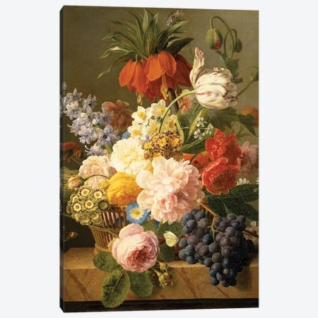 Still Life with Flowers and Fruit, 1827  Canvas Print #BMN1425} by Jan Frans van Dael Canvas Art Print