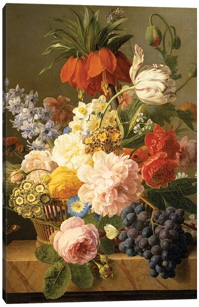Still Life with Flowers and Fruit, 1827  Canvas Art Print
