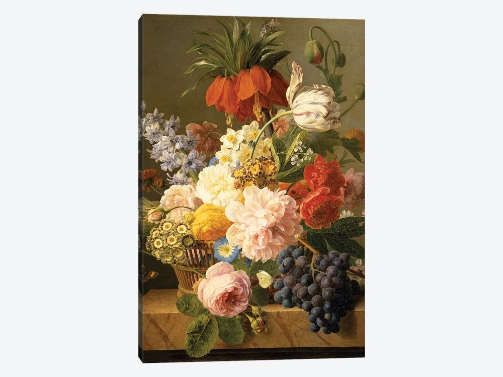 Still Life with Flowers and Fruit, 1827  by Jan Frans van Dael 1-piece Canvas Print