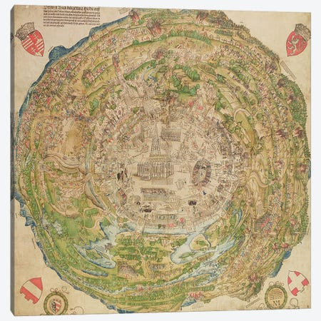 Circular map of Vienna during the Turkish siege, 1530 Canvas Print #BMN1426} by Unknown Artist Canvas Print