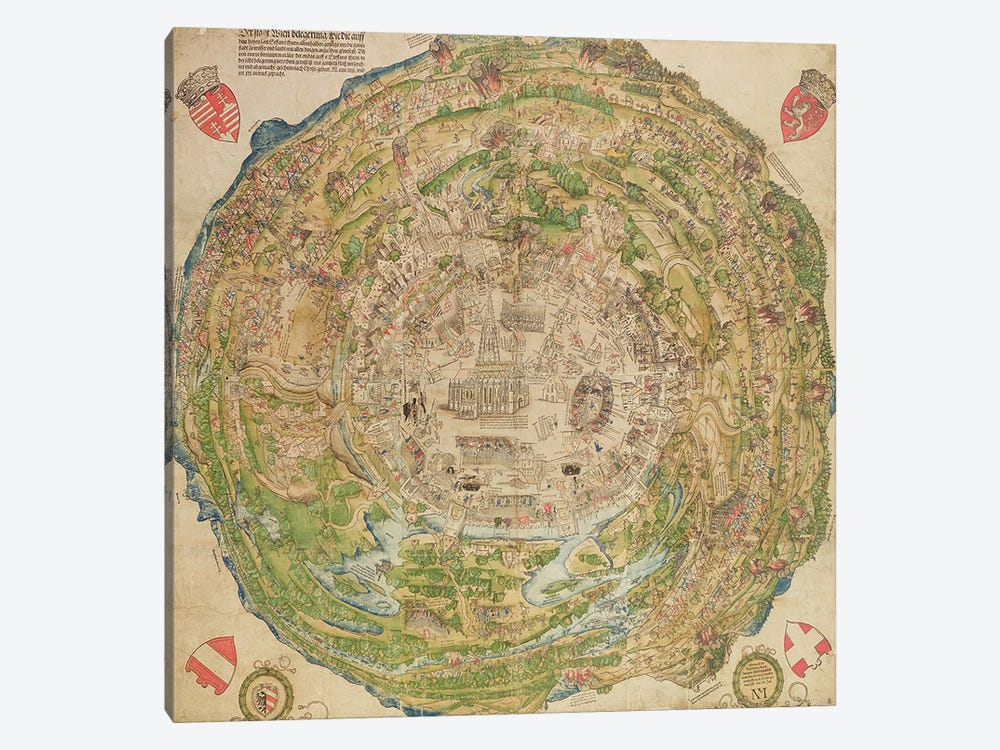 Circular map of Vienna during the Turkish siege, 1530 1-piece Canvas Art
