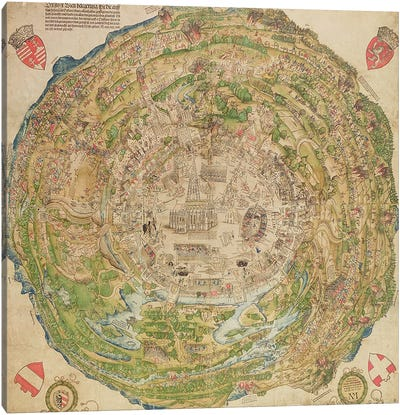 Circular map of Vienna during the Turkish siege, 1530 Canvas Art Print