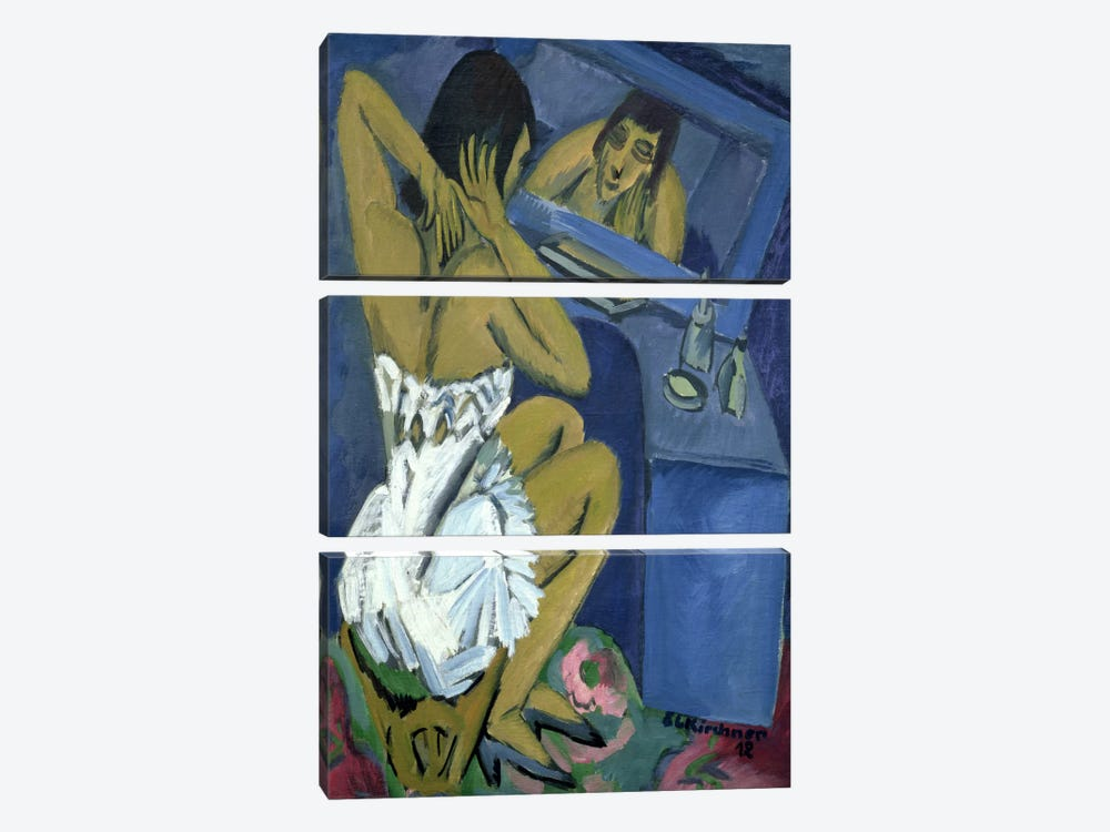 Woman before the Mirror, 1912 by Ernst Ludwig Kirchner 3-piece Canvas Wall Art