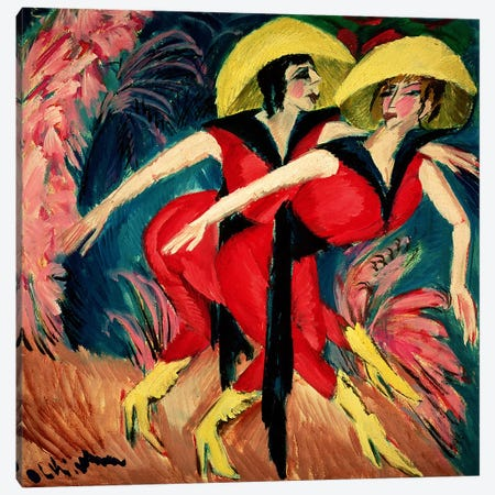 Dancers in Red, 1914  Canvas Print #BMN1430} by Ernst Ludwig Kirchner Canvas Art Print