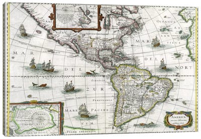 Map of the Americas, 1631 Canvas Art Print