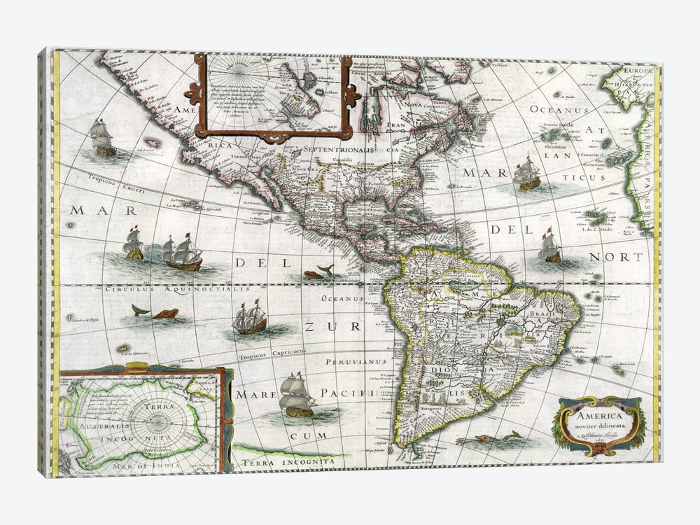 Map of the Americas, 1631 by Henricus Hondius 1-piece Canvas Art Print