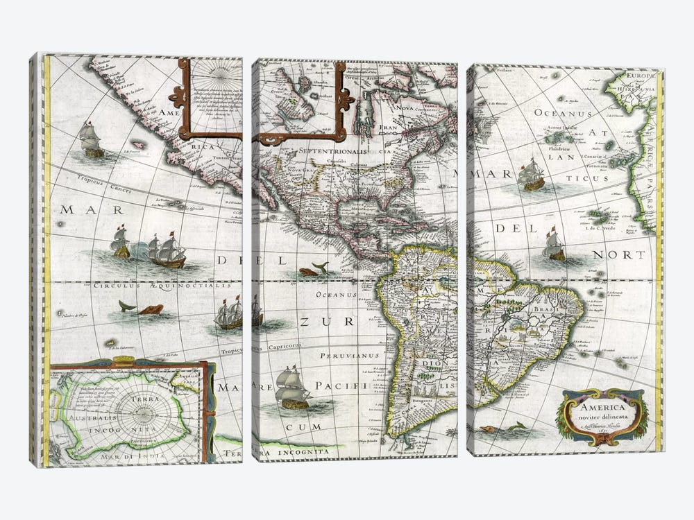 Map of the Americas, 1631 by Henricus Hondius 3-piece Art Print