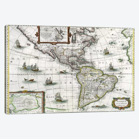 Map of the Americas, 1631  Canvas Print #BMN1434} by Henricus Hondius Canvas Artwork