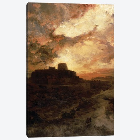 Sunset, Pueblo del Walpe, Arizona, 1880  Canvas Print #BMN1437} by Thomas Moran Canvas Wall Art