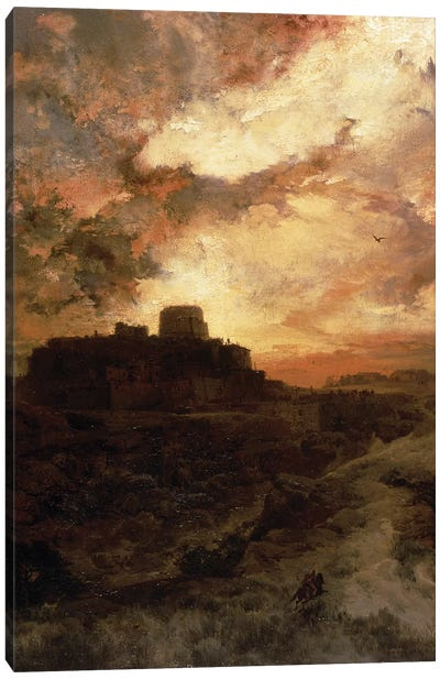 Sunset, Pueblo del Walpe, Arizona, 1880  Canvas Art Print