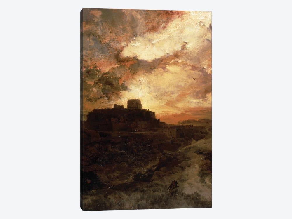 Sunset, Pueblo del Walpe, Arizona, 1880  by Thomas Moran 1-piece Canvas Artwork