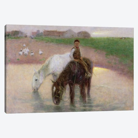 The Horse Pond, c.1890  Canvas Print #BMN1438} by Edward Stott Canvas Art Print