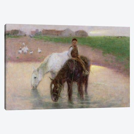 The Horse Pond, c.1890  Canvas Print #BMN1438} by Edward Stott Canvas Art Print