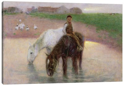 The Horse Pond, c.1890  Canvas Art Print