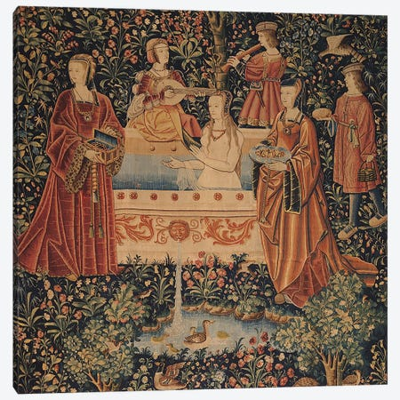 La Vie Seigneuriale: Woman Bathing surrounded by Attendants  Canvas Print #BMN1441} by French School Canvas Art