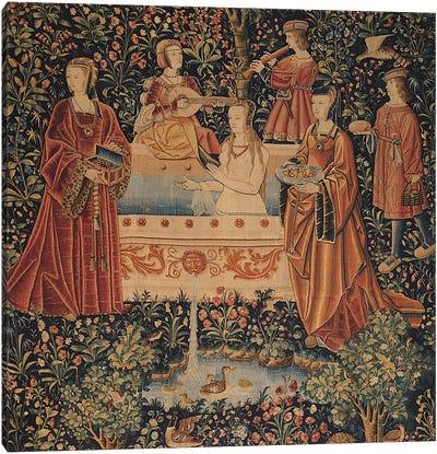 La Vie Seigneuriale: Woman Bathing surrounded by Attendants  Canvas Print #BMN1441
