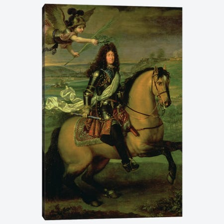 Equestrian Portrait of Louis XIV  Canvas Print #BMN1445} by Pierre Mignard Art Print