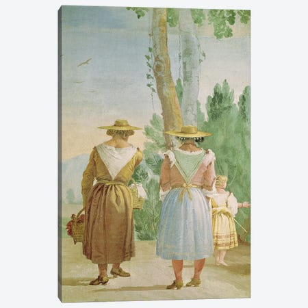 Two Peasant Women and a Child Seen from Behind, from the 'Foresteria'  Canvas Print #BMN1446} by Giandomenico Tiepolo Canvas Art Print
