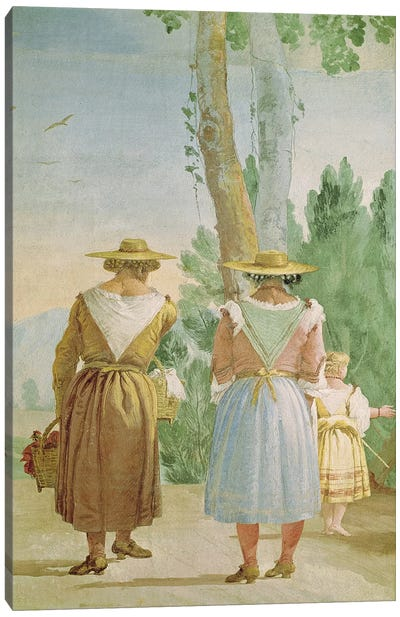 Two Peasant Women and a Child Seen from Behind, from the 'Foresteria'  Canvas Art Print