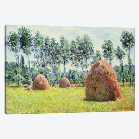Haystacks at Giverny, 1884  Canvas Print #BMN1448} by Claude Monet Canvas Wall Art