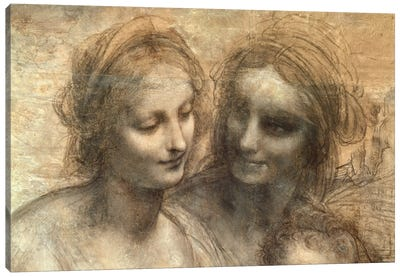 Detail of the Heads of the Virgin and St. Anne, from The Virgin and Child with SS. Anne and John the Baptist, c.1499 by Leonardo da Vinci Art Print
