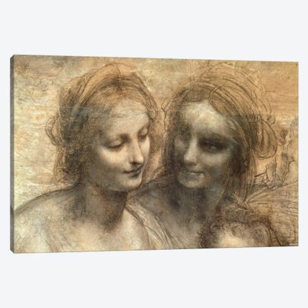 Detail of the Heads of the Virgin and St. Anne, from The Virgin and Child with SS. Anne and John the Baptist, c.1499  Canvas Print #BMN1452} by Leonardo da Vinci Art Print