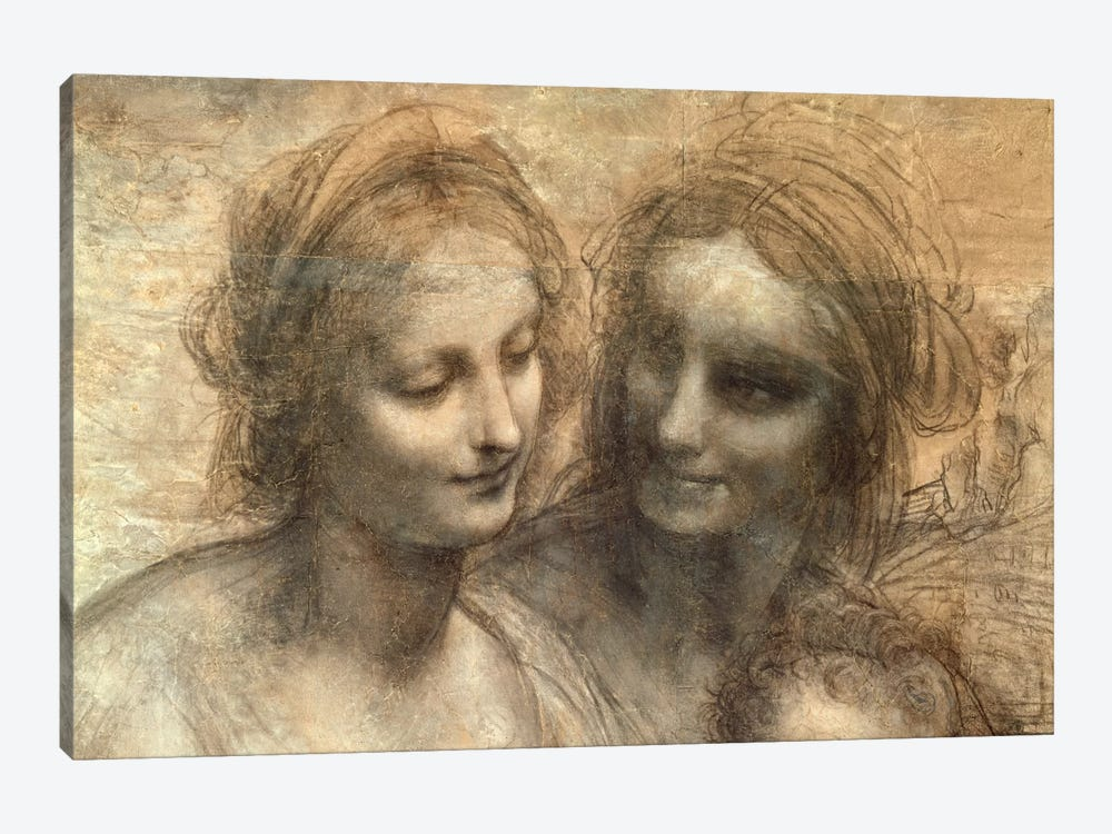 Detail of the Heads of the Virgin and St. Anne, from The Virgin and Child with SS. Anne and John the Baptist, c.1499  by Leonardo da Vinci 1-piece Canvas Art Print