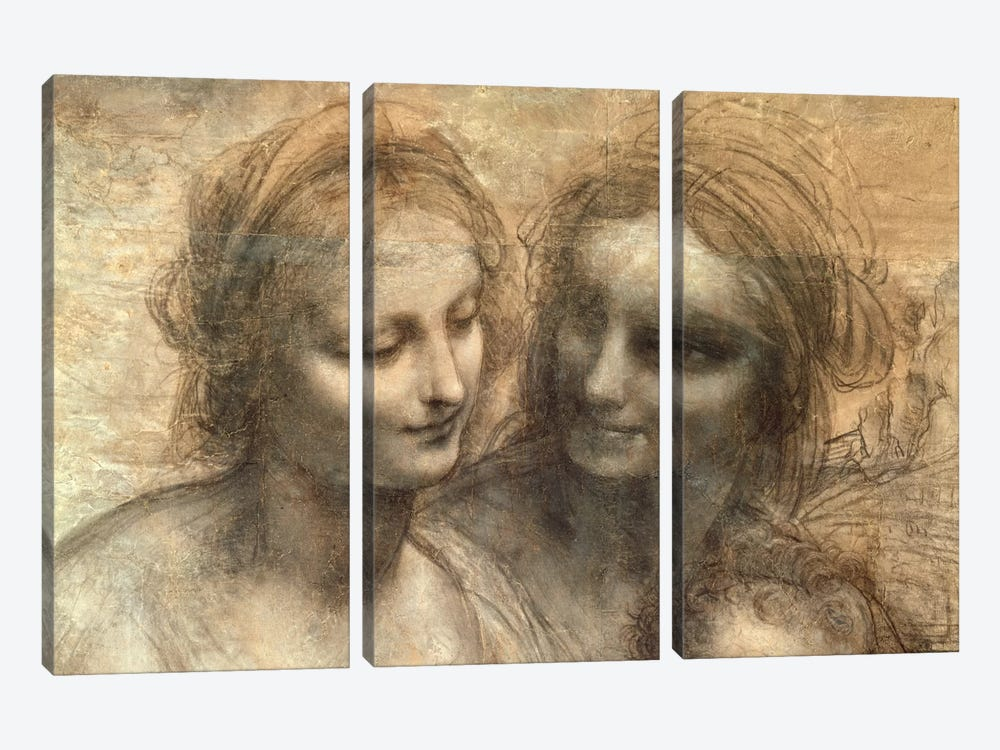 Detail of the Heads of the Virgin and St. Anne, from The Virgin and Child with SS. Anne and John the Baptist, c.1499  by Leonardo da Vinci 3-piece Canvas Art Print