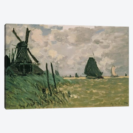 A Windmill near Zaandam, 19th century  Canvas Print #BMN1453} by Claude Monet Art Print