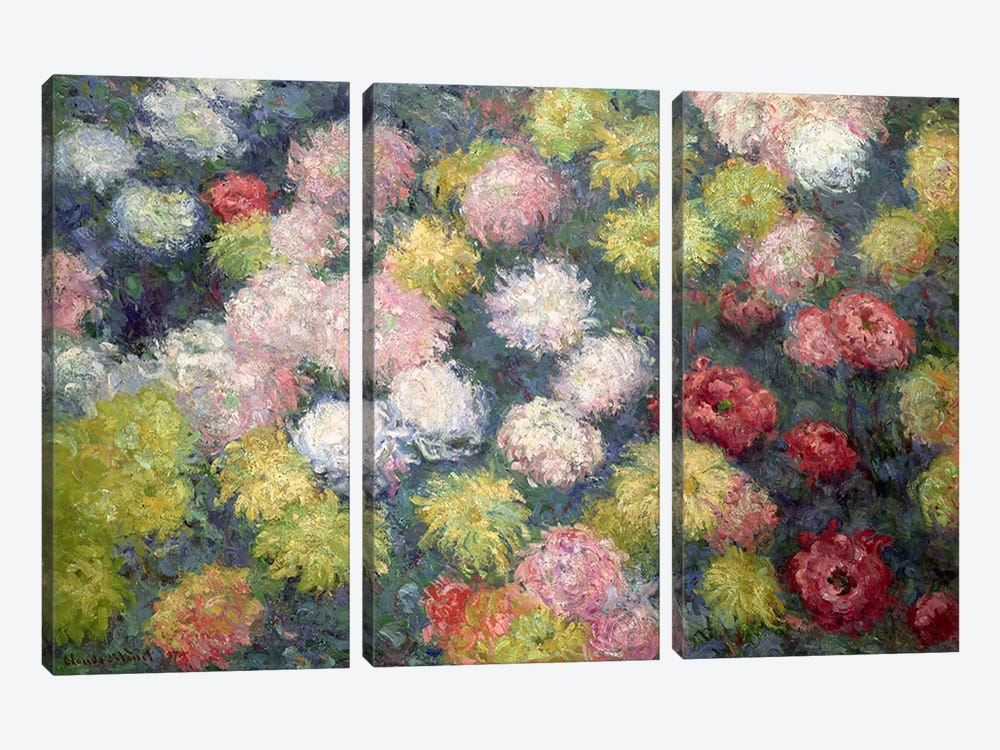 Chrysanthemums, 1897  by Claude Monet 3-piece Canvas Art