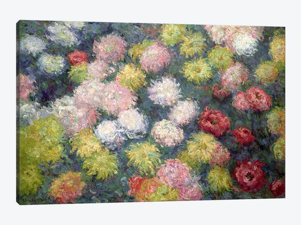 Chrysanthemums, 1897  by Claude Monet 1-piece Canvas Wall Art
